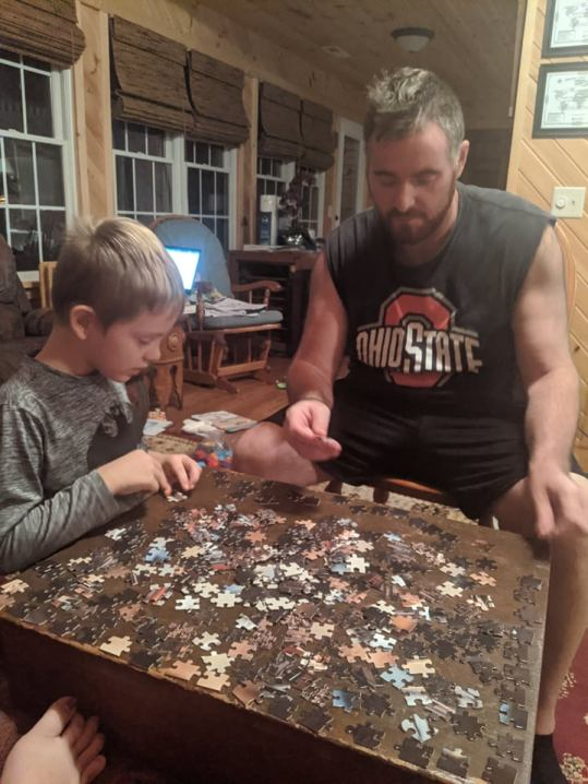 Jim & Micaiah put together a lot of puzzles during our stay in time the first month.